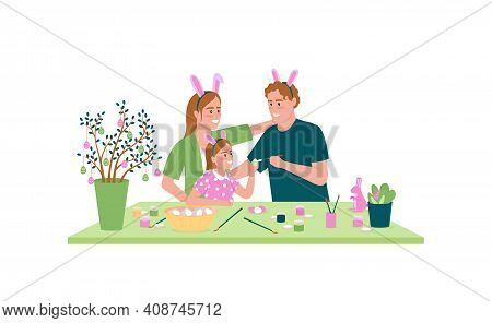 Happy Family Decorating Easter Eggs Flat Color Vector Detailed Character. Parents With Child. Spring