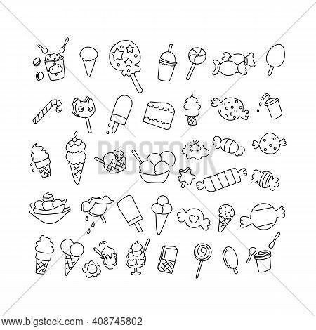 Set Of Element Birthday Desert Doodle. Hand Drawn Doodle Sweets Set Vector Illustration Sketchy Swee
