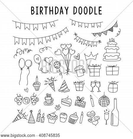 Set Of Element Doodle Decoration Birthday. Vector Set Of Elements For Birthday And Party Doodles. Se