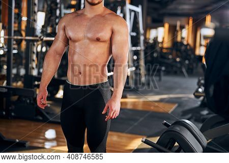Handsome Topless Male Bodybuilder Coming To Gym