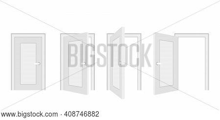Open And Closed Door Home Interior, Entrance Doorway. White Wooden Doors Template In Different Stage