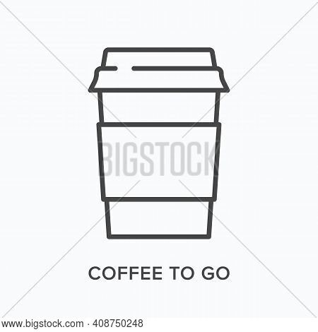 Coffee To Go Flat Line Icon. Vector Outline Illustration Of Paper Cup. Black Thin Linear Pictogram F