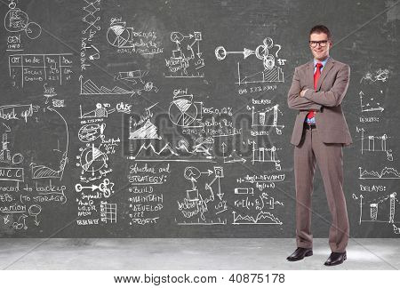 confident business man with glasses standing with arms crossed n front of a wall filled with calculations, graphs and big plans
