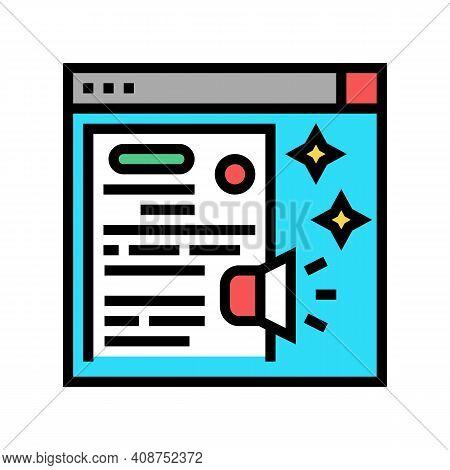 Distributing Press Release Color Icon Vector. Distributing Press Release Sign. Isolated Symbol Illus