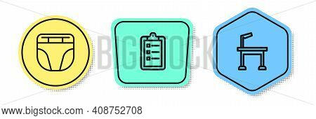 Set Line Diaper For Dog, Grooming Salon Price List And Pet Grooming Table. Colored Shapes. Vector