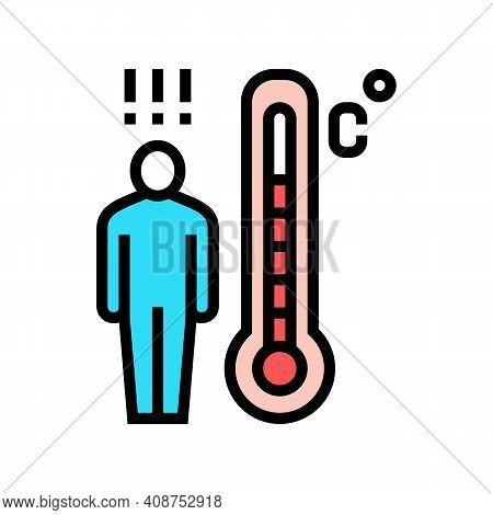 Patient High Temperature Color Icon Vector. Patient High Temperature Sign. Isolated Symbol Illustrat