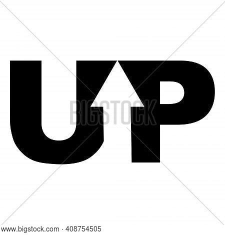 Sign Logo Up Arrow In The Word, Vector Up Arrow
