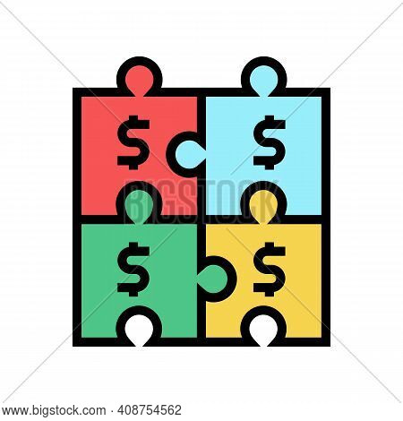 Financial Puzzle And Diversification Color Icon Vector. Financial Puzzle And Diversification Sign. I