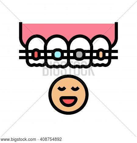 Child Tooth Braces Color Icon Vector. Child Tooth Braces Sign. Isolated Symbol Illustration
