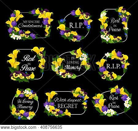 Funeral Frames With Spring Flowers Wreath. Funereal Vector Cards Decor With Yellow Calla Lily, Pansy