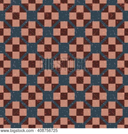 Moroccan Geometric Vector Pattern Background. Grid Backdrop With Teal, Pink, Burgundy Stone Terrazzo