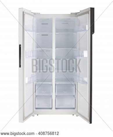 Major Appliance - Front View White Open Doors Two-door Side By Side Refrigerator Fridge On A White B