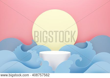 White Podium With Blue Water Wave And Moon On Pink Background, Space For Text And Product Advertisin