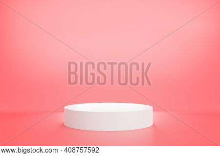 3d Rendering Of White Podium With Pink Pastel Color Background For Product Advertising, Minimal Styl