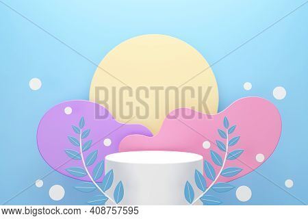 White Podium With Leaves And Clouds Or Wave Shapes Pastel Color On Blue Background, Space For Produc