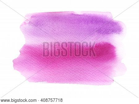 Watercolor Pink Stain. Hand Drawn Brush Stroke Isolated On White Background.