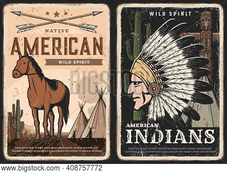 Native Americans, Indians Spirit Retro Posters, Grungy Banners. Crossed Bow Arrows, Mustang Horse An