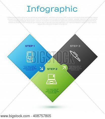Set Line Tetris, Fountain Pen Nib And Laptop. Business Infographic Template. Vector