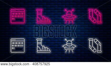 Set Line Slippers With Socks, Ufo Flying Spaceship, Binary Code And Socks. Glowing Neon Icon On Bric