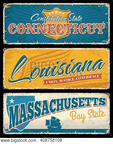Usa States Of Connecticut, Louisiana And Massachusetts Grunge Signs Of Vector American Travel And To