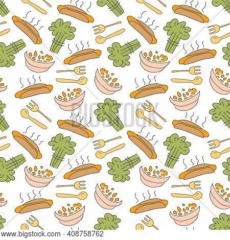 Pattern Seamless Kids With Breakfast Doodle Element. Seamless Pattern Of Colorful Breakfast Icon, Ve