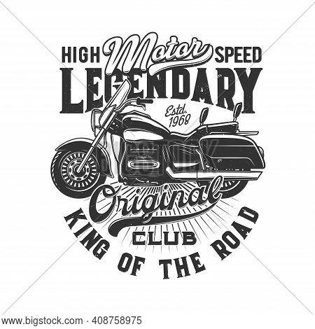 Motorcycle Races, Bike Or Motorbike Riders Club, Vector Icon For Speedway Motors Sport. Motorcycle R