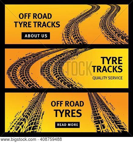 Offroad Tire Tracks, Black Car Tyres Prints, Grunge Vector Off Road Marks. Bike Race, Vehicle, Trans