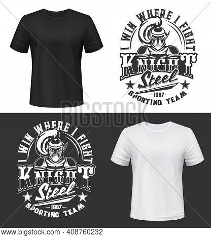 Tshirt Print With Knight Vector Mockup, Sporting Team Mascot Medieval Warrior Wearing Helmet And Arm