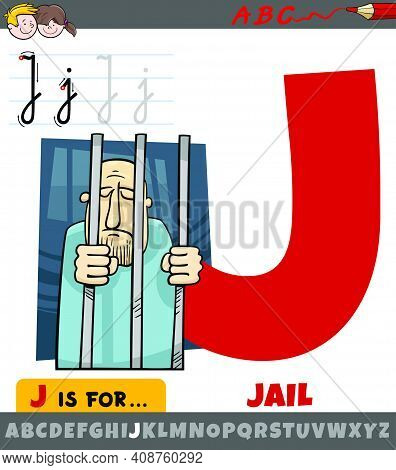 Educational Cartoon Illustration Of Letter J From Alphabet With Jail Word For Children