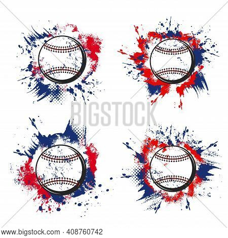 Baseball Ball Grunge Icons Of Vector Sport Game Tournament Or Team Club Design. Pitcher Baseball Bal