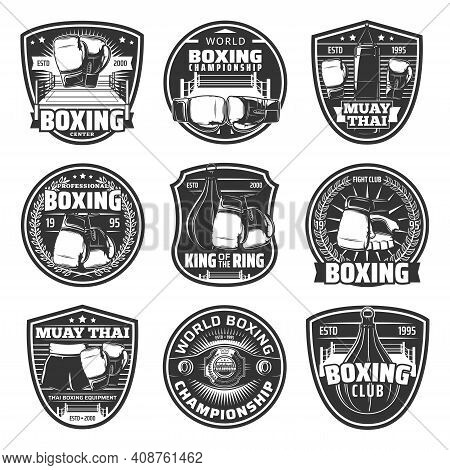 Boxing And Muay Thai Single Combats Vector Icons. Thailand Kickboxing Martial Arts, Fighting Sport,