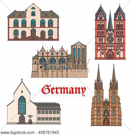 Germany Landmarks, Travel Architecture Of Marburg In Hesse, Vector. German Landmark Buildings Of Eli