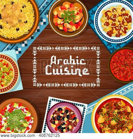 Arabic Cuisine Meat And Vegetable Meals Banner. Lamb Rice Mansaf, Tagine With Plums And Roast Lamb W