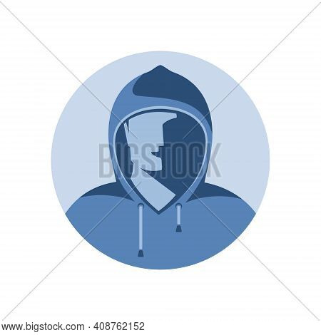 Hidden Person, Incognito, Invisible, Anonymous In The Form Of A Man With A Hood Pulled Over His Face