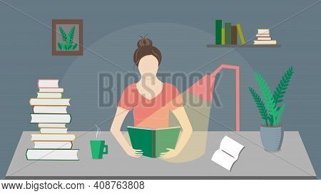 Girl Reading Book At The Table With Plant, Cup, Notes At Night, Vector Illustration. A  Lot Of Books