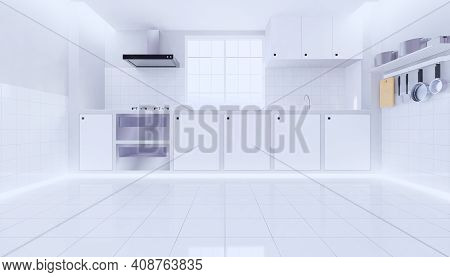 3d Rendering Of Kitchen Room For Cooking And Food Preparation, White Tile Floor New Clean Condition