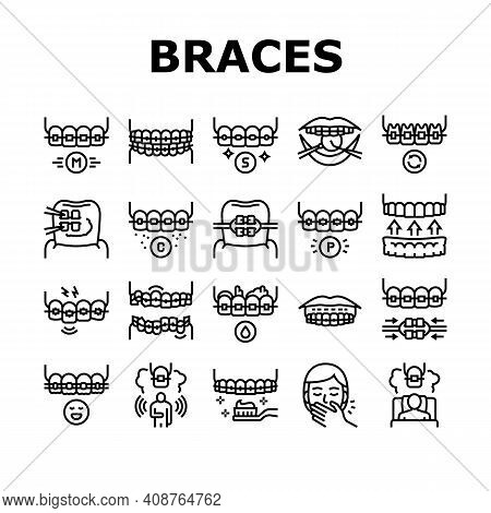 Tooth Braces Accessory Collection Icons Set Vector. Tooth Braces Installation And Correction, Metal