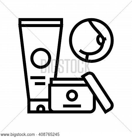 Nipple Oitment And Cream For Breast Line Icon Vector. Nipple Oitment And Cream For Breast Sign. Isol