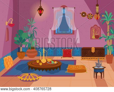 Traditional Middle Eastern Living Room Interior With Wooden Furniture And Decoration Elements:lanter