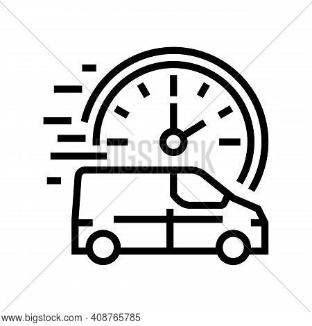 Fast Delivering Vehicle Free Shipping Line Icon Vector. Fast Delivering Vehicle Free Shipping Sign.