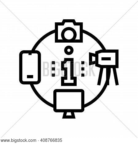 Mass Media Line Icon Vector. Mass Media Sign. Isolated Contour Symbol Black Illustration