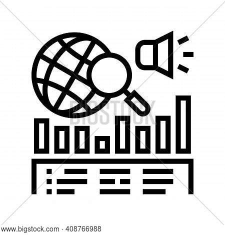 News Coverage Analysis Line Icon Vector. News Coverage Analysis Sign. Isolated Contour Symbol Black