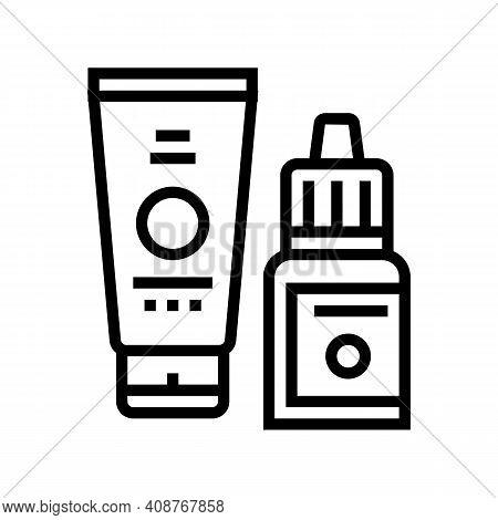 Serum And Cream Beauty Cosmetics Line Icon Vector. Serum And Cream Beauty Cosmetics Sign. Isolated C