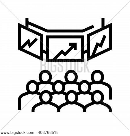 Trading On Stock Exchange Line Icon Vector. Trading On Stock Exchange Sign. Isolated Contour Symbol