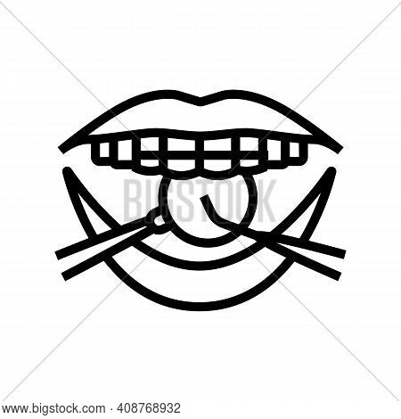 Checking Tooth Braces Line Icon Vector. Checking Tooth Braces Sign. Isolated Contour Symbol Black Il