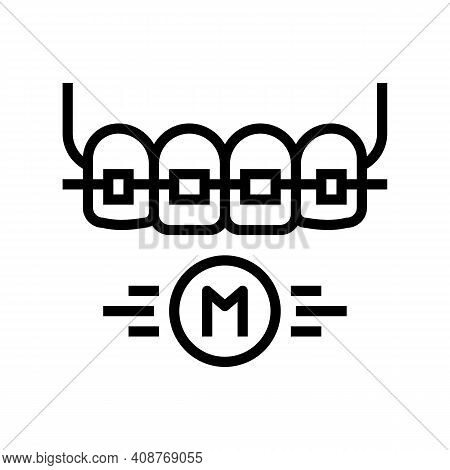 Metal Material Tooth Braces Line Icon Vector. Metal Material Tooth Braces Sign. Isolated Contour Sym