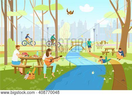 People In Spring City Park Having Picnic, Riding Bikes, Running, Playing Guitar, Taking Photos, Enjo