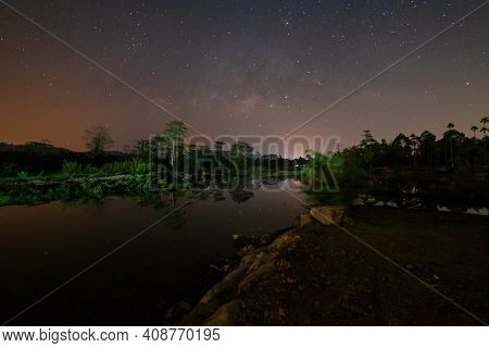 Landscape With Milky Way. Night Sky Of Galactic Core. Beautiful Picture Of The Galactic Core. Long E