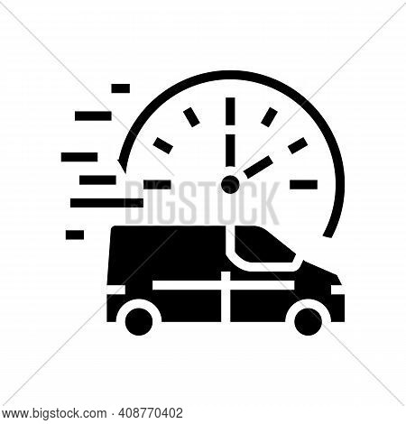 Fast Delivering Vehicle Free Shipping Glyph Icon Vector. Fast Delivering Vehicle Free Shipping Sign.