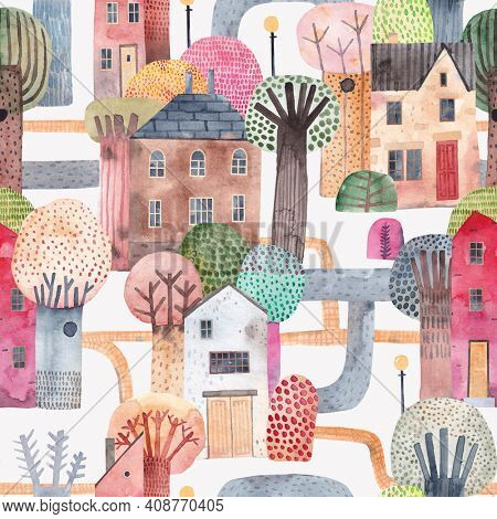Cute city. Watercolor background. Old houses surrounded by tall trees. Seamless pattern.